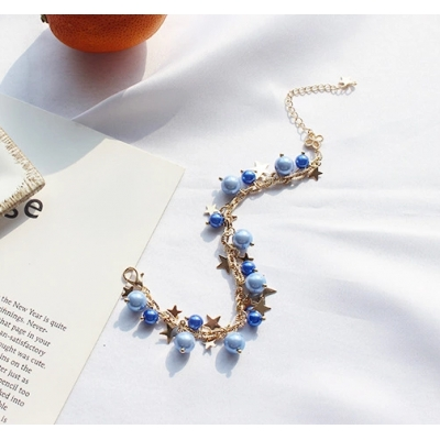 High Grade Metal Chain Ladies Bracelets Blue Pearl Bracelet